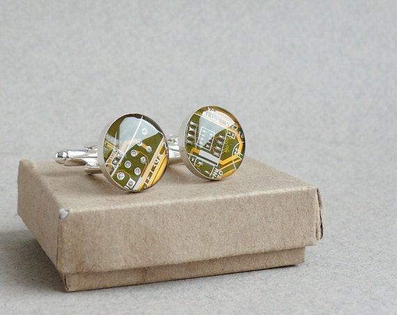 Circuit board Cuff links Geekery Olive green with golden lines recycled computer projectt