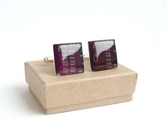 Circuit board Cuff links Geekery Purple Squares recycled computer projectt