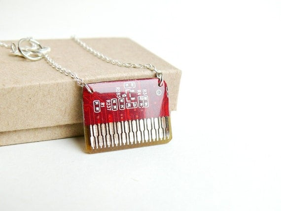 Circuit board geekery necklace Red - recycled computer N471 ready to ship