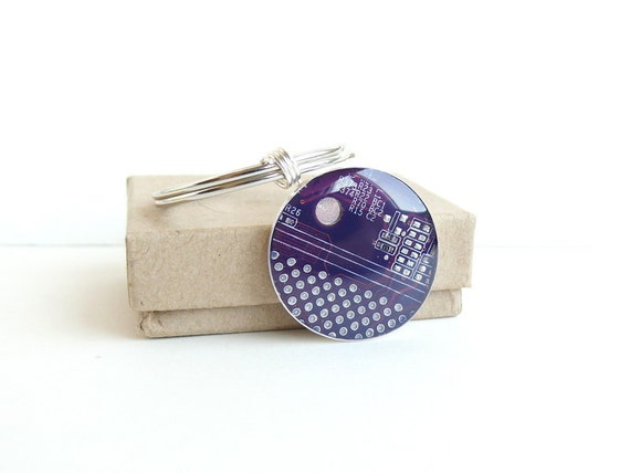 Circuit board geekery keychain Purple in silvertone - recycled computer scp832