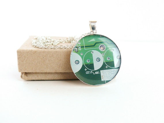 Circuit board geekery necklace Green in silvertone - recycled computer Ng763 ready to ship