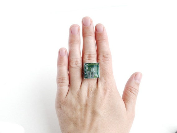 Geekery ring Green square circuit board - computer jewelry r663 ready to ship