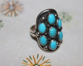 Vintage Turquoise & Sterling Ring- signed