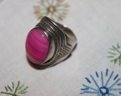 Vintage Sterling & Agate Bubble Gum Pink Ring