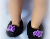 American Girl doll clothes - Cute crocheted black slippers with purple pom poms on the toes.  Made to fit 18 inch dolls.