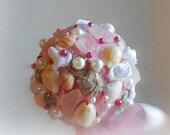 Beach Wedding Bouquet seashells and sea glass