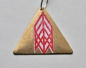 Tribal Brass Triangle on Silver Chain