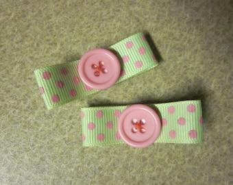 Lime Green Ribbon w/Pink Polka Dot Hairclip