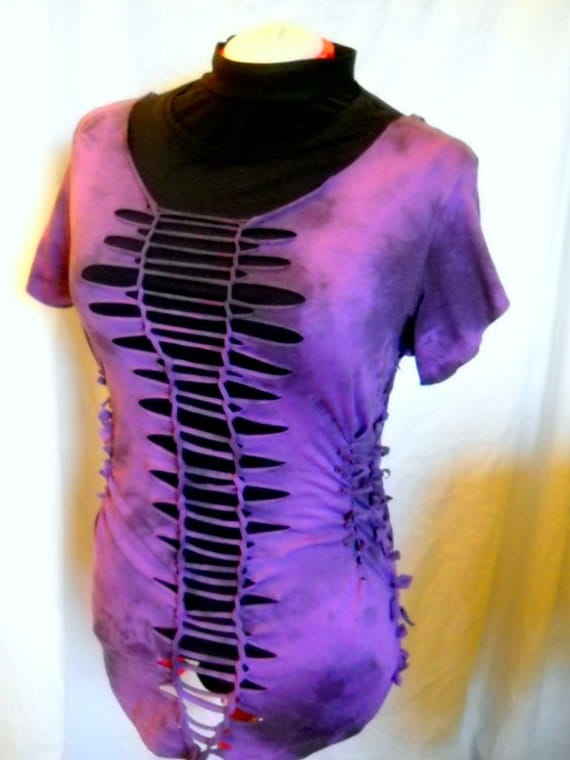 Woman's Purple Upcycled Size 16W Cut Out, Reconstructed, RiPpEd RaGed Soft Cotton Shirt