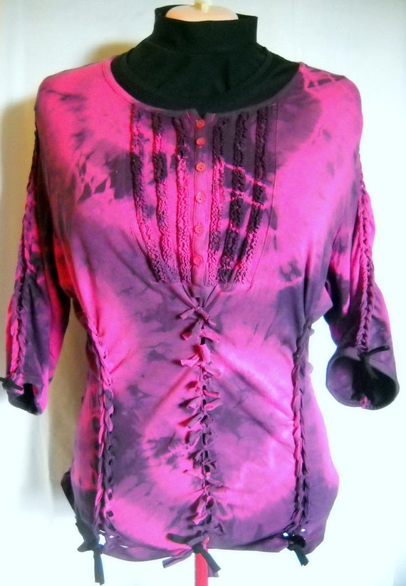 Woman's size 18W Tie Dyed, Cut Out, Braided, Reconstructed, Upcycled, RiPpEd RaGe Pink & Black Shirt