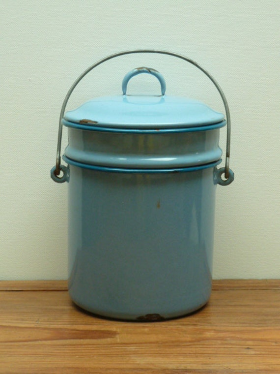 French Vintage Enamel Lunch Pail in Duck Egg Blue