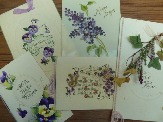 LOT of 5 English Vintage Greetings Cards Featuring Hand Painted Flowers.