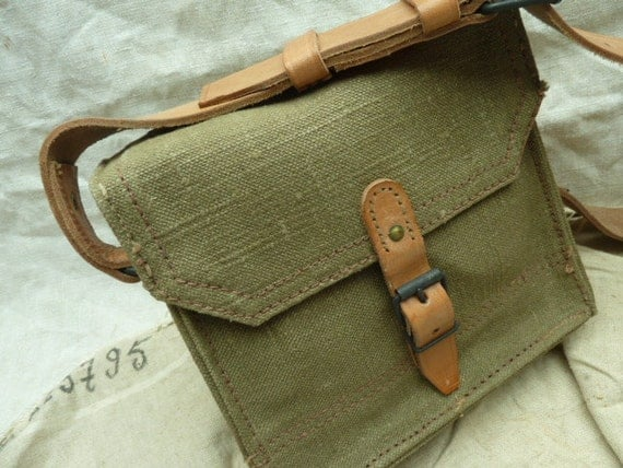 Vintage French Military Leather and Canvas Bag
