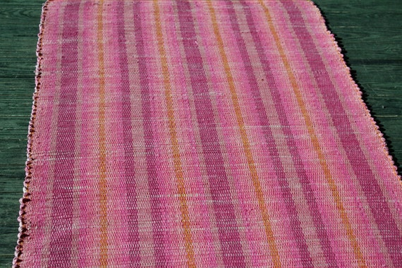 In the pink handwoven cotton rag rug