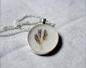ON SALE pressed flower necklace lavender sprig wheat grass praire pendant unique gardener jewelry shabby chic cottage grasses