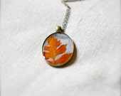 on sale NO CHAIN pressed leaf necklace autumn fall colors handmade resin jewelry woodland beautiful pendant natural botanical jewelry