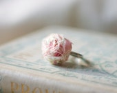 rosette fabric ring rolled rose fabric. fabric flower. rose garden tea party - adjustable silver base - shabby chic and charming
