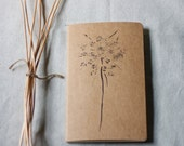 moleskine journal. botanical original print queen annes lace kraft paper. gift for nature lover and writer. for man or woman unisex
