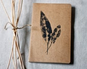 moleskine journal. botanical original print pressed leaves. kraft paper. gift for nature lover and writer. for man or woman unisex