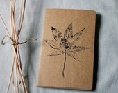 moleskine journal. botanical original print Japanese maple leaf kraft paper. gift for nature lover and writer. for man or woman unisex