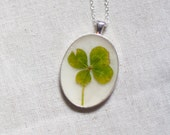four leaf clover real pressed leaf botanical pendant. sage green 4 leaf clover set in resin get lucky luck saint patricks day