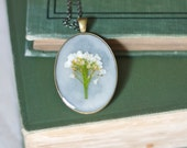 pressed flower necklace white bouquet pressed botanical Pendant Jewelry with Handmade Paper - resin jewelry spring summer garden