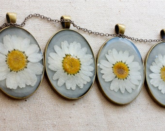 bridesmaid necklace set pressed flower handmade white daisy jewelry he loves me collection pendants bridal wedding woodland