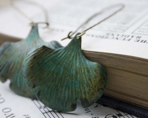 gingko earrings. Hand Aged Verdigris Patina Leaf Earrings perfect for a fashion night out sage green kidney earwires spring summer garden