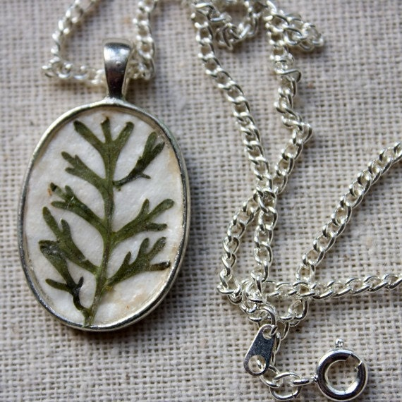green fern pressed botanical Pendant Real Botanical Jewelry with Handmade Paper woodland garden sage green pressed leaf necklace silver