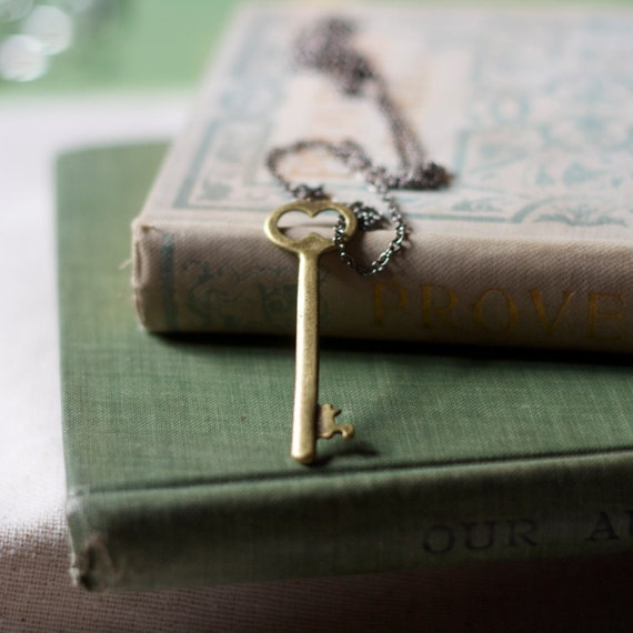 skeleton key necklace. key to the secret garden collection. brass. extra long chain.