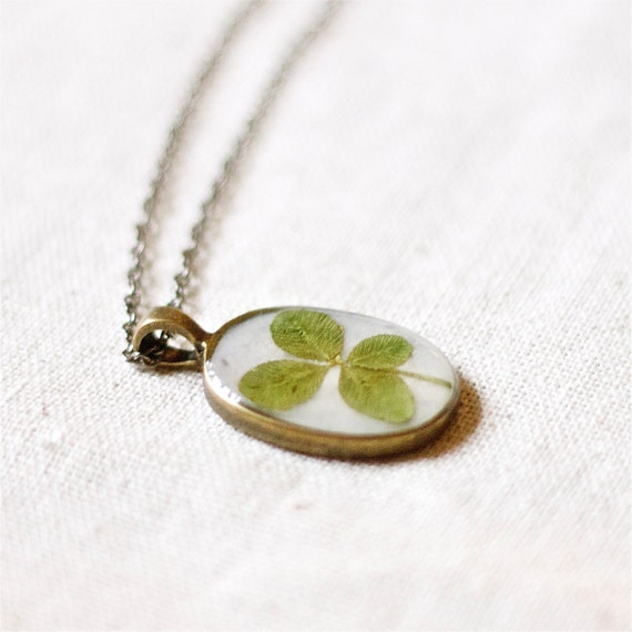 four leaf clover real clover jewelry pendant handmade botanical necklace lucky charm green woodland beautiful
