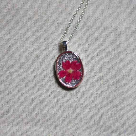pressed flower necklace real resin dark pink wildflower botanical pendent. resin jewelry shabby chic spring handmade jewelry silver