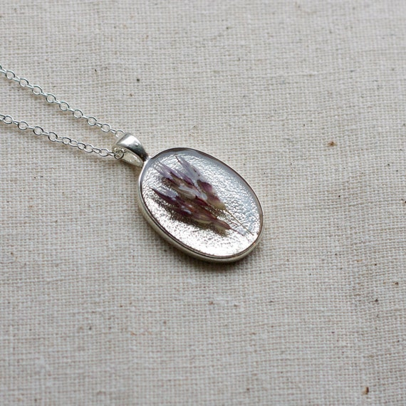 ON SALE real botanical necklace prairie grass pendant handmade resin necklace. lavender tinted wild grasses, texture nature mothers day