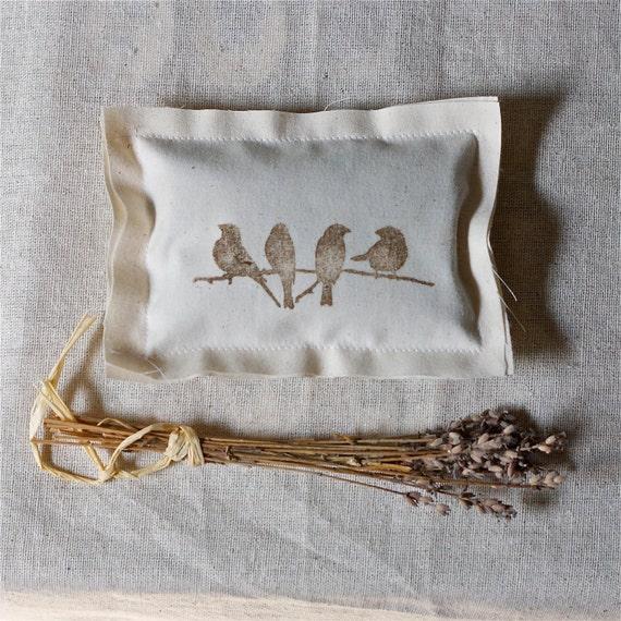 handmade lavender pillows. Brown hand stamped birds on cotton fabric. hostess gift, dresser decor, bedroom fresh, decoration spring clean