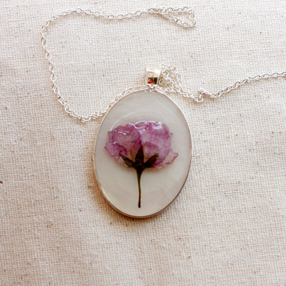 pressed flower necklace pink dusty rose botanical Pendant with Handmade Paper - resin jewelry spring summer garden mothers day