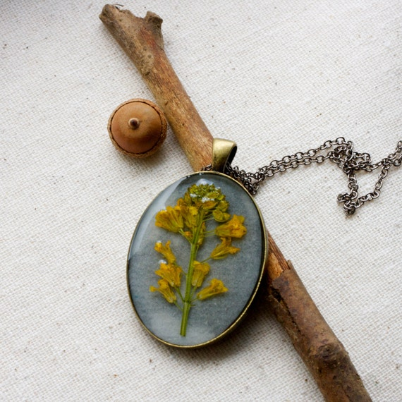 pressed wildflower resin necklace yellow golden flowers from my farmhouse cottage woodland fall