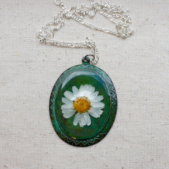 pressed daisy flower necklace on green verdigris patina filigree bezel natural nature one of a kind resin necklace resin jewelry