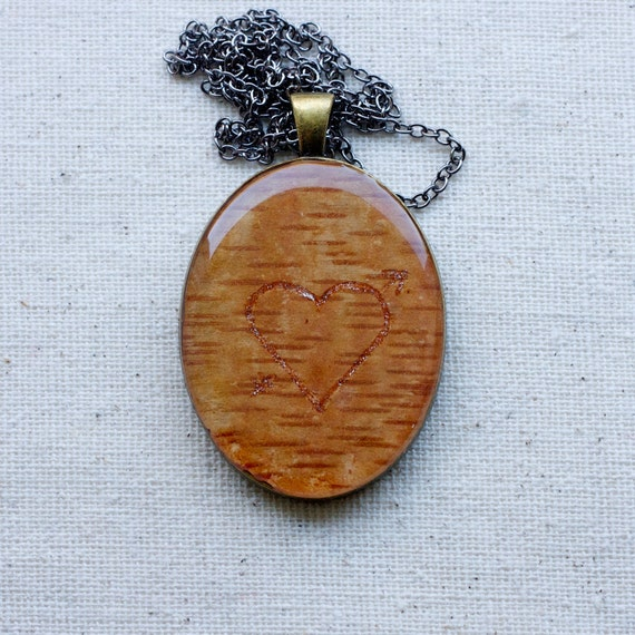 botanical jewelry pendant necklace birch bark necklace with hand drawn heart and arrow love