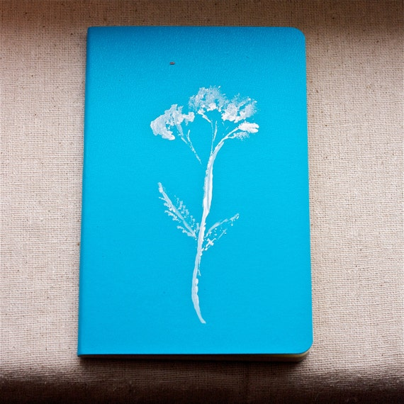 moleskine journal. botanical original print turquoise blue and white wildflower gift for nature lover and writer. for man or woman unisex