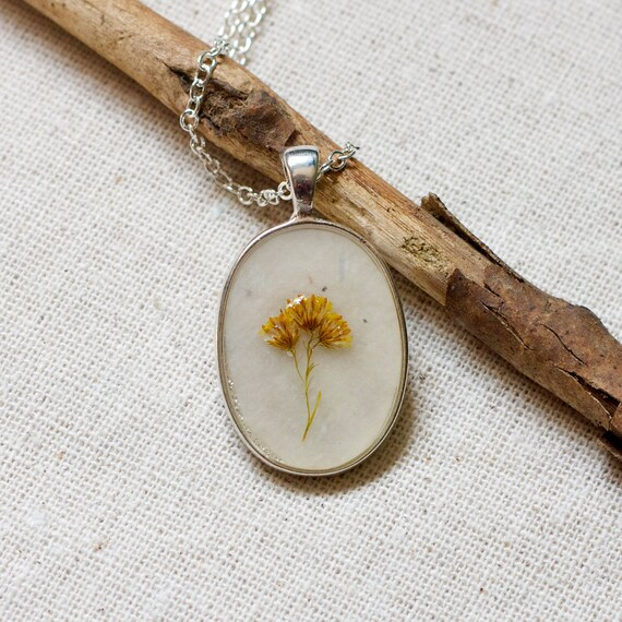 ON SALE -  no chain. resin jewelry pressed flower necklace botanical pendent boho fashion prairie wildflower handmade jewelry in silver