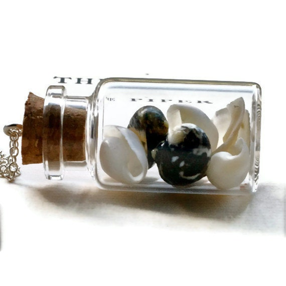 nautical seashell vial necklace with real shells from the sea black and white mysterious curiosity cabinet natural history