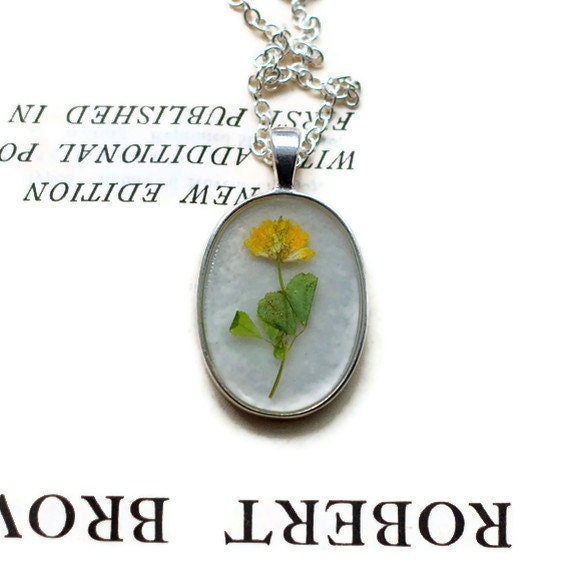 resin jewelry pressed flower necklace Real Botanical with Handmade Paper in a silver setting sunshine yellow sage green wildflower boho chic