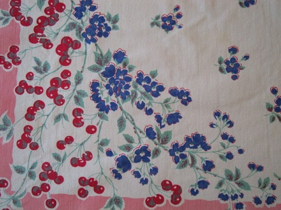 """Vintage tablecloth with Cherries and Blue Blossoms 47"""" x 50"""" / Beautiful/ Retro/ Cottage"""