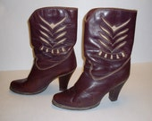 Vintage 1970s Zodiac Boots in Italian Leather with Cutout Design - Size 9