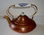 RESERVED FOR FLANINTHEFACE  Vintage Tea Kettle Copper Brass Blue Delft Tin Lined