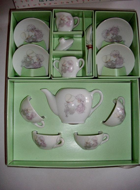 Vintage Tea Set 1985 Precious Moments Porcelain Our Friendship Hits the Spot