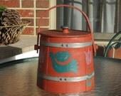 SALE:  Vintage Wooden Sugar Bucket, Hand Painted Firkin