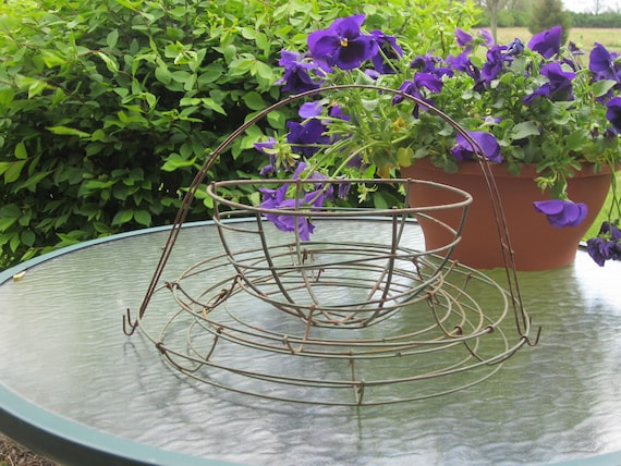 Vintage 4 Piece Wire Bowl, Wire Basket, Wire Handle, Wire Frame