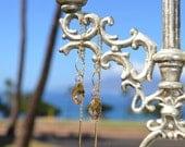 Threader Earrings in Topaz Swarovski Crystal Gold