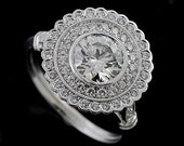 Art Deco Halo Style Platinum Pave Diamond Engagement Ring Mounting Setting